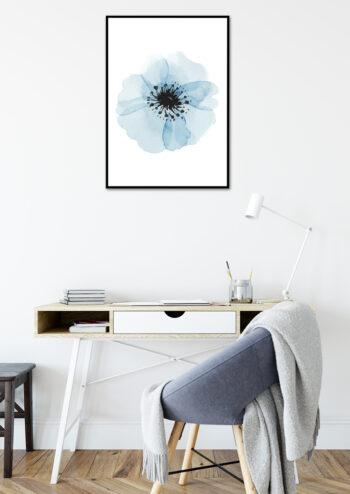 Poster Blaue Blume Wasserfarben Poster 2