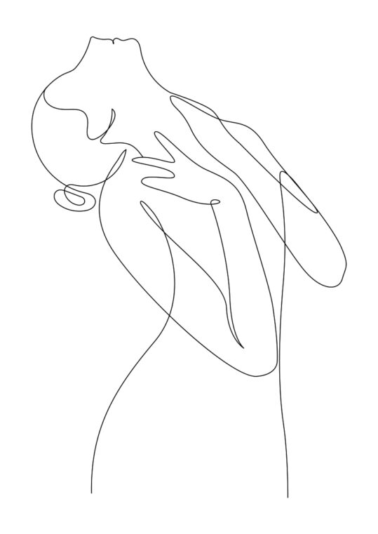 Poster Frau lehnt Kopf nach Hinten Poster 1