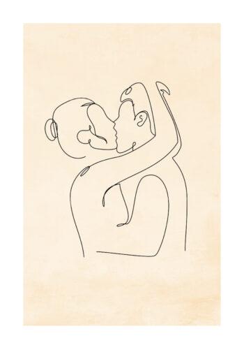 Poster Der Kuss Lineart Poster 1