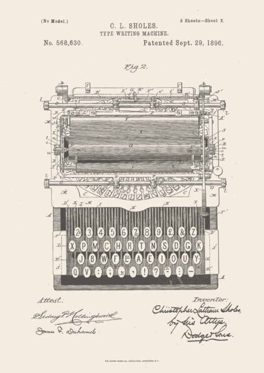 Poster Schreibmaschine Patent Poster 1