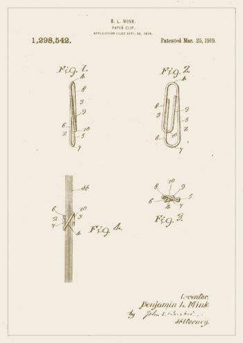 Poster Büroklammer Patent Poster 1
