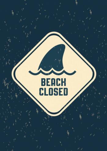 Poster Beach closed Schild Poster 1
