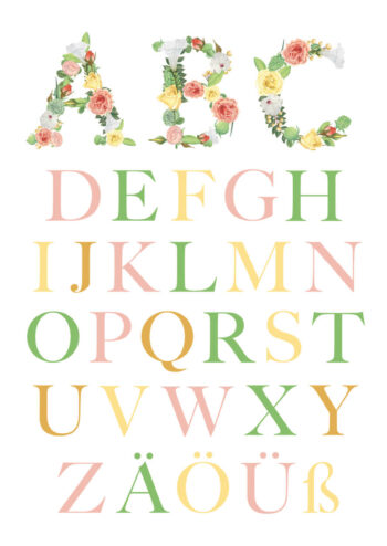 Poster Abc Poster Kinder Floral Weiss Poster 1
