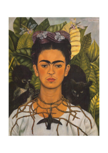 Poster Frida Kahlo Selfportrait Hummingbirds an Thornnecklace