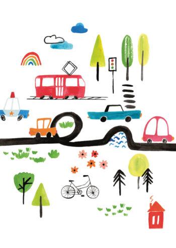 Poster Fahrzeuge: Autos und Straßenbahn Poster 1